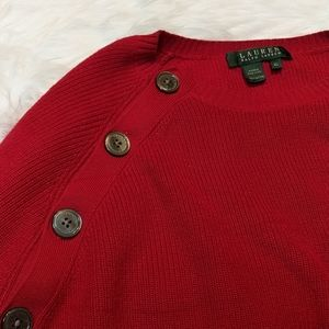 RALPH LAUREN Red Button Crew Neck Sweater
